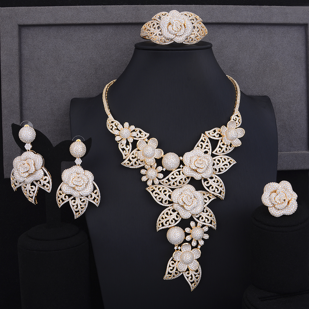 GODKI Delux Rose Flower Leaf African Long Jewelry Set For Women Wedding Cubic Zircon CZ Indian Dubai Gold Bridal Jewelry Set2018