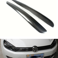 Mk6 Carbon Fiber Front Headlight Eyelid Covers Trim Eyebrows For VW Golf 6 R20 GTI