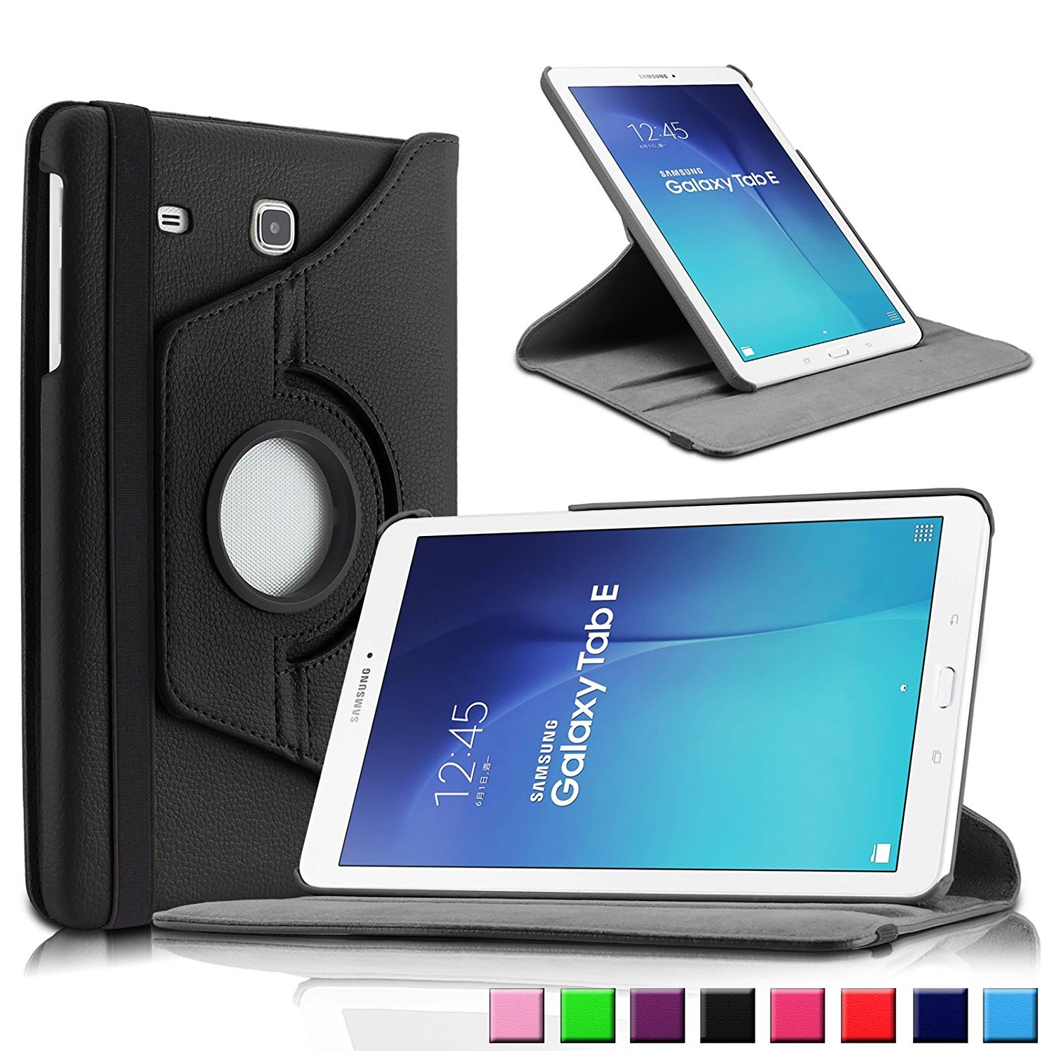 360 Rotating PU Leather case flip stand tablet cover for Samsung Galaxy Tab E 9.6 T560 T561 Tablets cover smart cases Funda Capa 100pcs lot luxury 360 degrees rotating stand pu leather flip case cover for samsung galaxy tab a 10 1 t580 android tablet t580