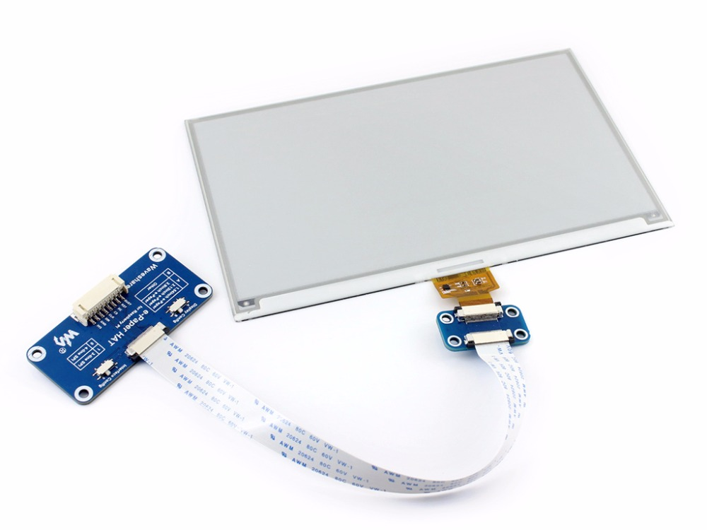 Waveshare 640x384,7.5inch E-Ink display HAT for Raspberry Pi 2B/3B/Zero/Zero W,Two-color:Black White,SPI interface,No Backlight