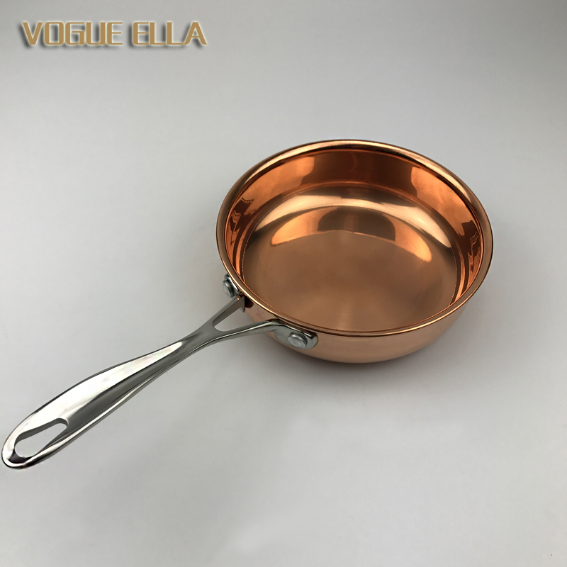 Pure Copper Frying Pan Mini Small Fry Steak Egg Pan Thickening Copper Red Pans No Coating Cooking Dishwasher Safe For Gas