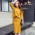 2017 весна Корейский стиль женщины устанавливает чистый цвет высокого качества мода slim костюмы длинный рукав круглый воротник рубашки юбка-карандаш M82