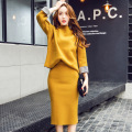 2017 spring Korean style women sets pure color high quality fashion slim suits long sleeve round collar shirt pencil skirt M82