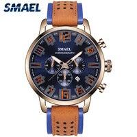SMAEL Casual Sport męskie zegarki Top marka skórzany wojskowy zegarki na rękę człowiek SL-9077 zegar moda Chronograph Relogio Masculino