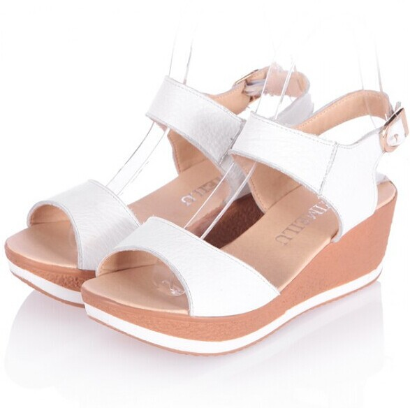 4646081c1ca5c Fashion Women Genuine Leather Sandals 2014 New Medium High heeled Wedges  Summer Shoes Open Toe Platform Sandals For Women-in Women s Sandals from  Shoes on ...