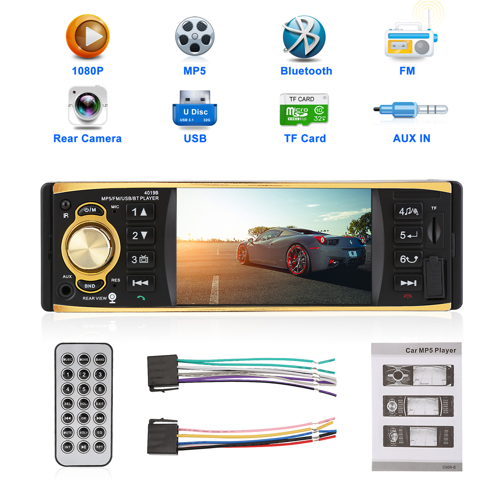 4.1 Inch 1 Din 12V Car Radio Stereo Player Bluetooth Remote Control MP3 MP5 Car Audio Player USB AUX FM Radio