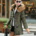 Последние Стеганые верхняя одежда Женщин С Капюшоном Чистый цвет Тяжелая волосы воротник студентки зимнее пальто Стеганые Пальто хлопка A8853