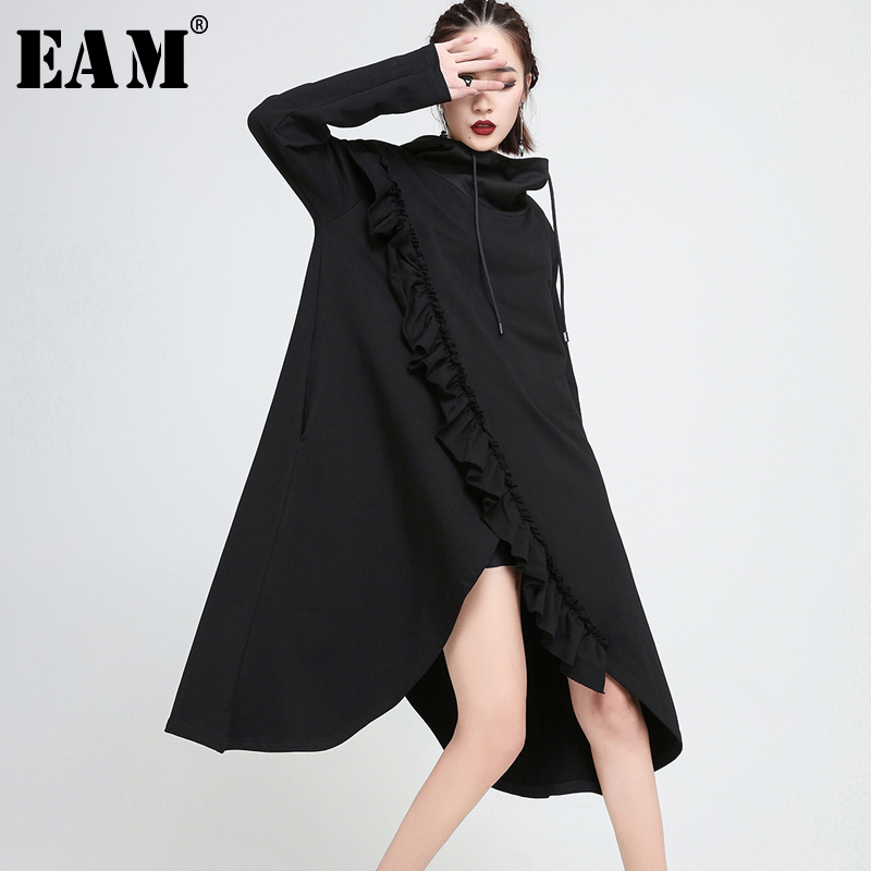 [EAM] 2018 New Autumn Hooded Long Sleeve Black Irregular Ruffles Split Joint Solid Color Loose Dress Women Fashion Tide JE19701