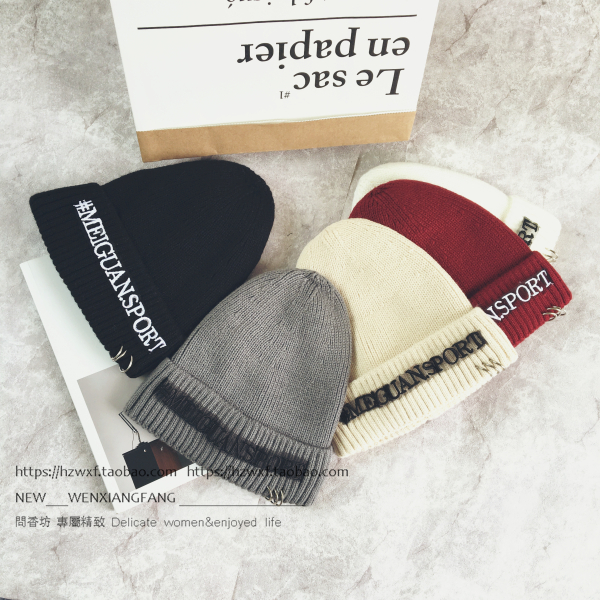 2017 Autumn Winter New Hot Fashion Women Casual Thick Warm Skullies Beanies Female Metal Ring Letters Knitting Letters Caps Hats skullies beanies the new russian leather thick warm casual fashion female grass hat 93022