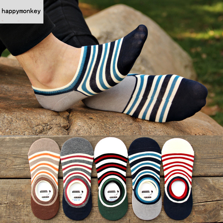 2015 New 5 Pairs Exclusive Spring, Summer Horizontal Serging Male Slippers Socks Silicone Invisible Men Socks, Ankle Socks