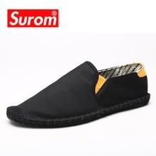 SUROM Summer Men Hemp Shoes Espadrilles Designer Breathable Casual Boat Shoes Men Loafers Ultralight Lazy Shoes Beige Flats