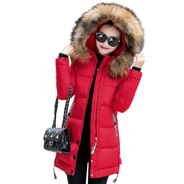 2018 fur collar plus size 3XL women winter hooded coat female outerwear parka ladies warm long jacket slim jaqueta feminina 2