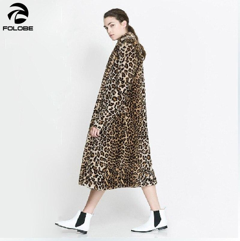 FOLOBE Europe Fashion Women X Long Faux Fur Leopard Coat Faux Fur Jacket Gilet Pelliccia Women Fur Coats veste fourrure S 3XL