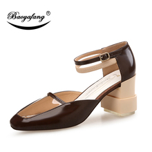 BaoYaFang New Thick Heel Strange fashion Summer sandals Ladies Party shoes clear Patent leather Women