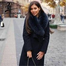 цены FURSARCAR 2018 New Arrival Real Fur Coat Women Winter Woolen Skin Jacket High Quality Fur Coat With Fox Fur Collar Hot Sale