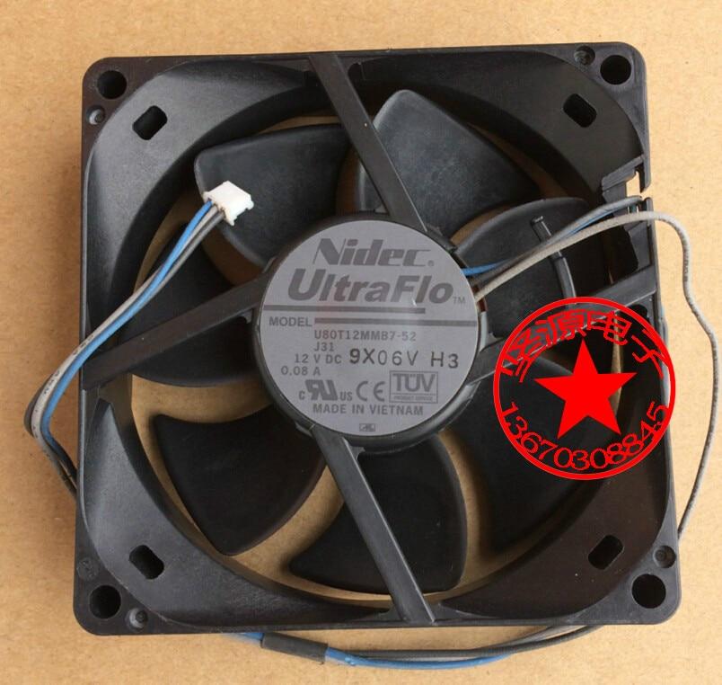 For Nidec U80T12MMB7-52 DC 12V 0.08A, 80x80x25mm 3-wire 3-pin connector Server Square fan delta ffb1248ehe f00 dc 48v 0 75a 2 wire 2 pin connector 120x120x38mm server square fan