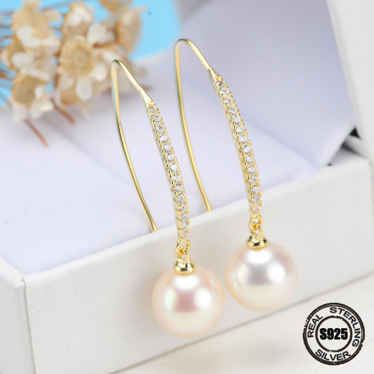2018 New Pearl Earrings 925 Sterling Silver Jewelry Vintage Style Natural Freshwater 7-7.5mm Pearl Stud Earring For Women Gift copper jewelry leopard head hanging pearl stud earrings tiger head green rhinestone black stud earrings for women