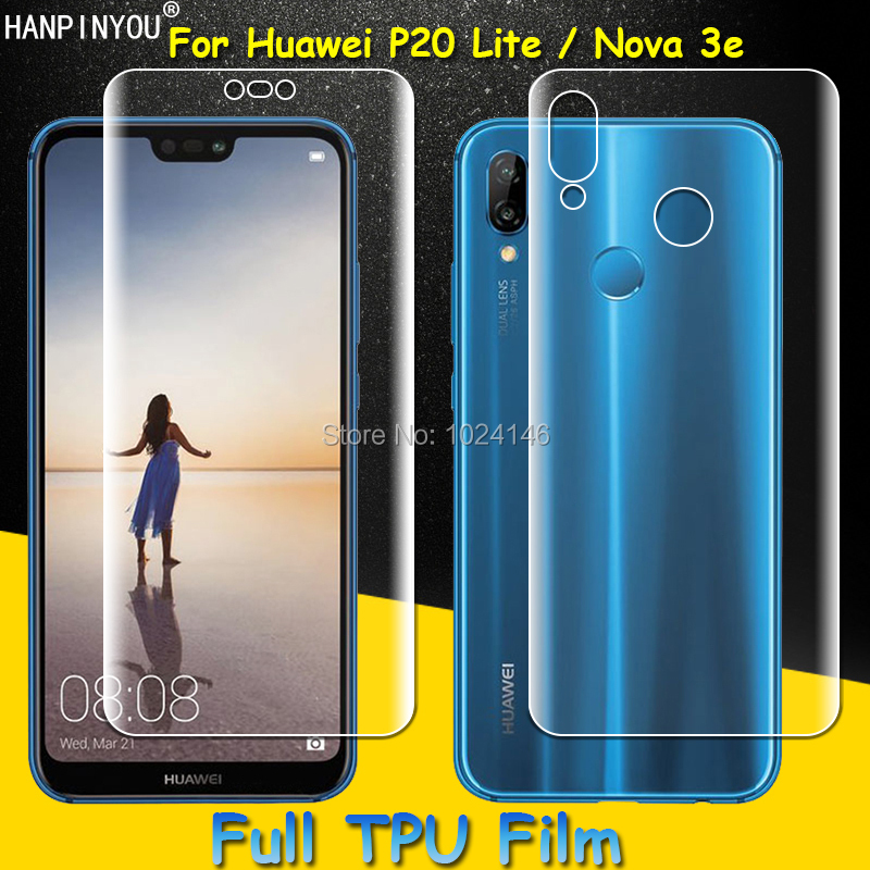 Front / Back Full Coverage Clear Soft TPU Film Screen Protector For Huawei P20 Lite , Cover Curved Parts (Not Tempered Glass)
