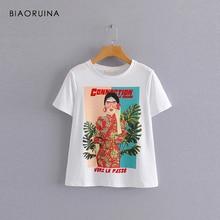 BIAORUINA Women Casual Cotton Character Printed T-shirt Short Sleeve O-neck Female Loose Cartoon Summer Tees Fashion T-shirts