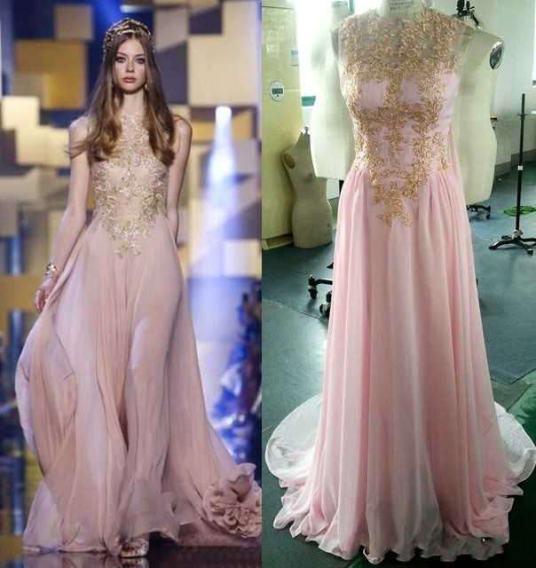 58d8d67ccfeb wejanedress Real Photos Elie Saab Evening Dresses 2016 Chiffon A Line Sweep  Train Sequins Evening Gowns Pink Custom Made Dresses