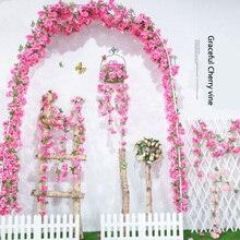 Вишневый цвет гирлянда цветков глицинии Висячие Цветы Букет Свадебная церемония Декор шелк Глициния лоза свадебная АРКА Цветочный декор