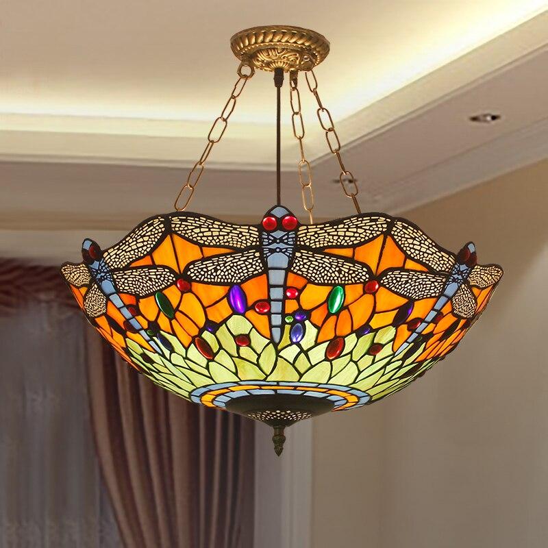 À Salon Lampe Libellule Vitrail Suspension Tiffany Luminaire Lumière Led Américaine Décor ED2HYW9I