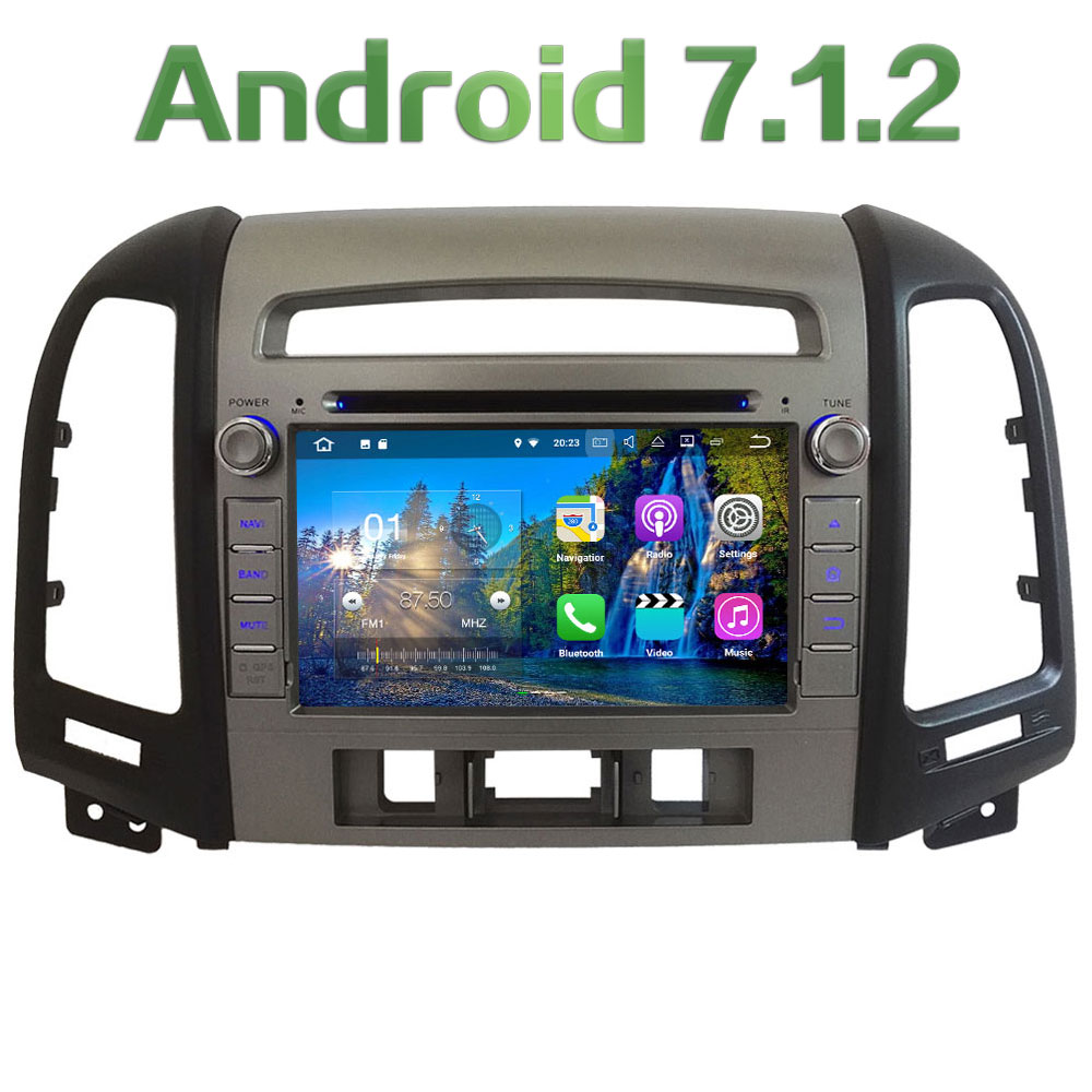 7'' 2GB RAM Android 7.1.2 Quad Core DAB+ SWC 4G WiFi Car DVD Player Radio Stereo GPS Navi For Hyundai SANTA FE 3 Hole 2006-2012 2gb ram 7 quad core android 7 1 multimedia 4g dab swc bt car dvd player audio stereo radio gps navi for vw touareg 2002 2011
