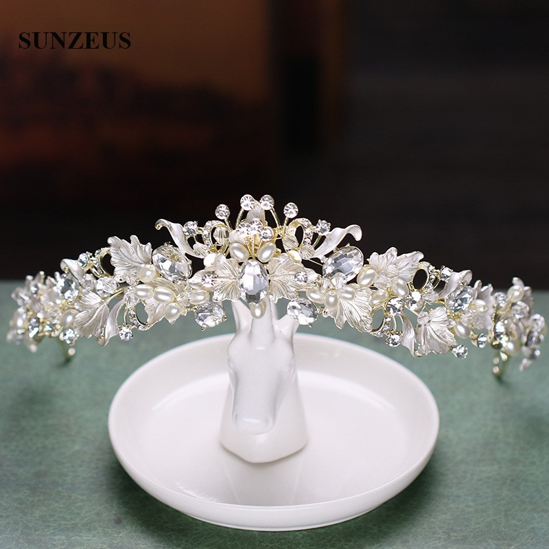 2018 New Style Silver Bridal Tiara Pearls Rhinestones Wedding Crown Leaves Headband Marriage Accessories SQ0242