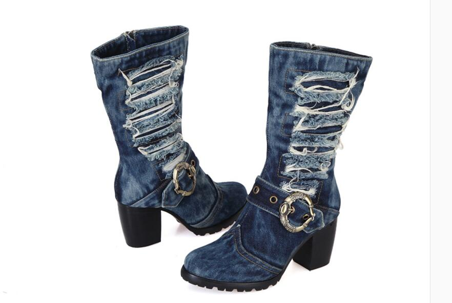 Kaeve Blue Denim Mid Calf Chunky Heels Pumps Cowboy Women 39 s Boot Round Toe Shoes High Heels Jean Martin Boots Free Shipping in Mid Calf Boots from Shoes