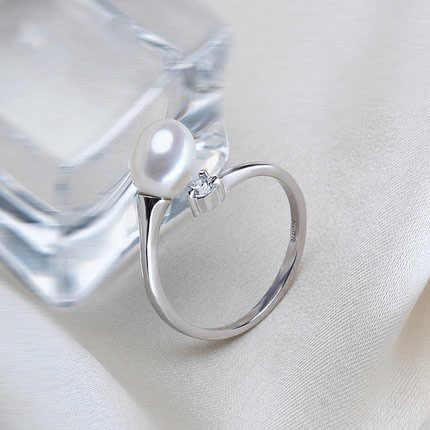 ZHBORUINI 2019 Thời Trang Ngọc Trai Vòng Trang Sức Của Bạc Water Drop Nhẫn Ngọc Trai Nước Ngọt Nhẫn 925 Sterling Silver Bạc Nhẫn Đối Với Phụ Nữ
