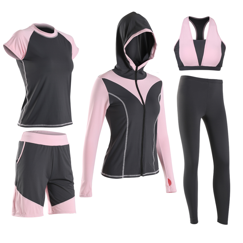 VERZY 2018 new women sexy 5 pieces yoga set gym running clothes jogging sport suit pink yellow and grey 3 colors sportswear