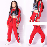 Kids Hip Hop Dance Costumes,Girls Long Sleeve Sports Suit Bright Hooded Outfits Kids Modern Jazz HipHop Dance Costume Top Pant