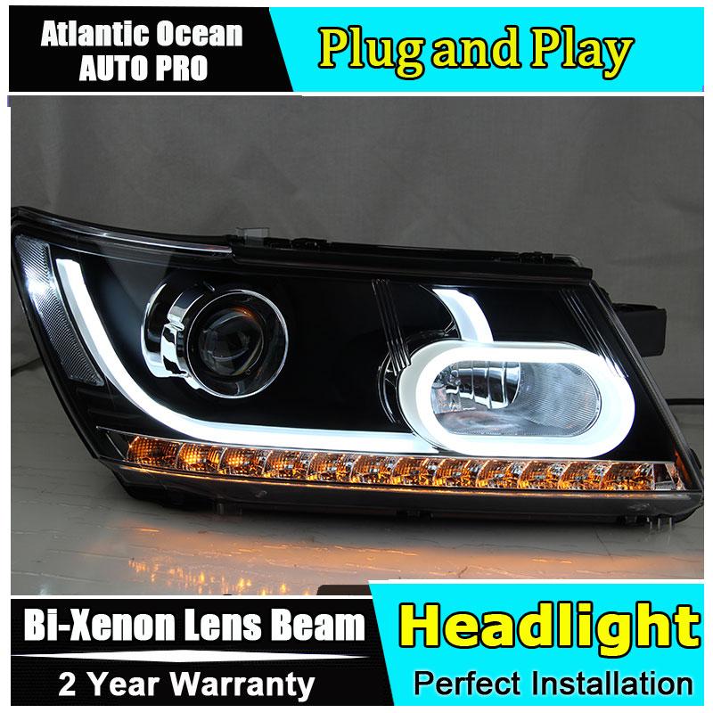 Car Styling per Dodge JCUV LED Del Faro 2008-2014 per il Viaggio Proiettori A LED DRL Lens Doppio Fascio NASCOSTO il CORREDO xeno bi xenon lente