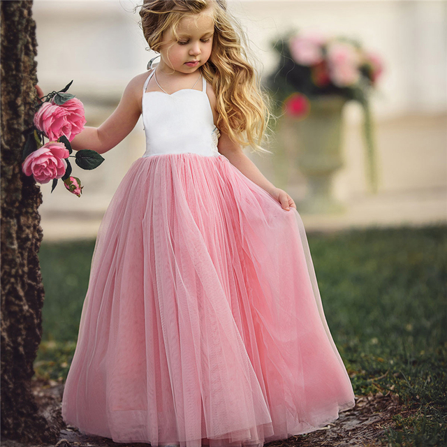 Baby Girls Baptism Dress Toddler Birthday Party Dresses Princess Pink Tulle Tutu 1 3 4 5 6 Years Old Kids