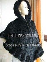 free shipping  /best MINK FUR  Zipper   STOLE WITH Cap Cloak / scarf / shawl/ black