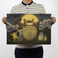 Miyazaki Hayao comic Animation film sets/Classic Totoro/kraft paper/Cafe/bar poster/ Retro Poster/decorative painting 51x35.5cm