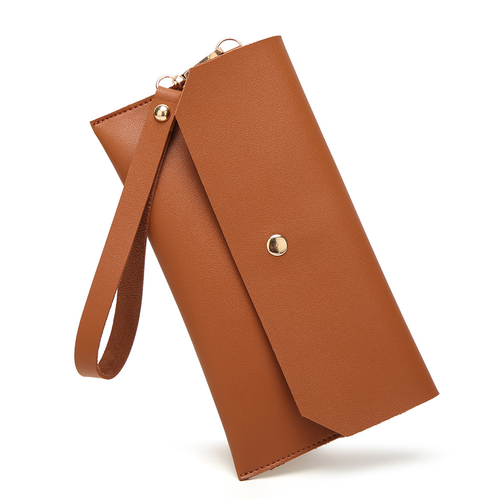 New Fashion Minimalist Solid Women Wallets High Quality PU Leather Long Purse Designer Girls Wristlet Wallet Cell Phone Holder