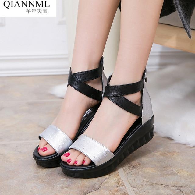 b16190a22 Qiannml Women Sandals Flat Casual Summer Shoes 2019 Gladiator Sandals Women Medium  Heel Platform Sandal Ladies Silver