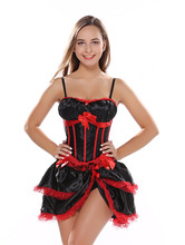 Womens Sexy Straps overbust Corset with cup Satin Lingerie Waist Body Slimming Bustier showgirl dance Mini Skirt S 2XL
