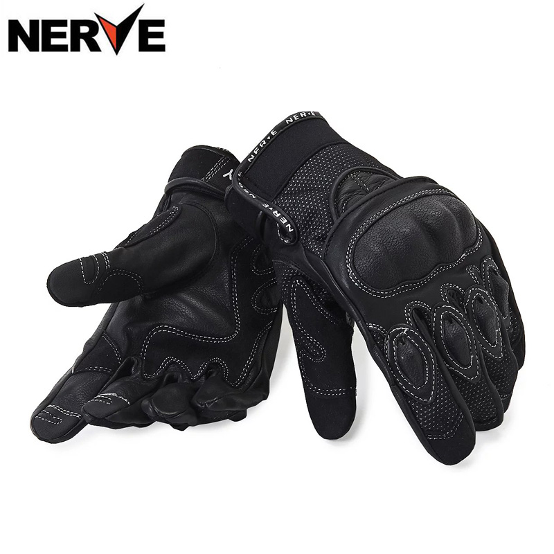 ФОТО NERVE Motorcycle Gloves spring summer Waterproof Windproof Protective Gloves leather gloves, breathable Non-slip, sheepskin
