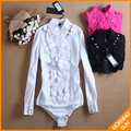 2017 new womens copper coin decorate big ruffle collar long sleeve shirt with buttons and frill choice OL body shirts  #4043
