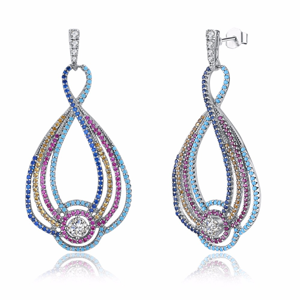 Sterling 100% Sterling Silver Earrings, Colored Zircon Stone Bohemian Style Earrings For Women, Specially Designed For Women pair of characteristic punk style silver colored earrings for women