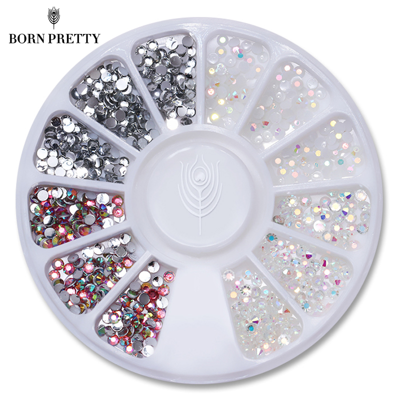 1 Box Multi Color Nail Art Studs Resin Nail Rhinestones Shinny Jelly 3D Dekorationer i Wheel Manicure Tips Tillbehör