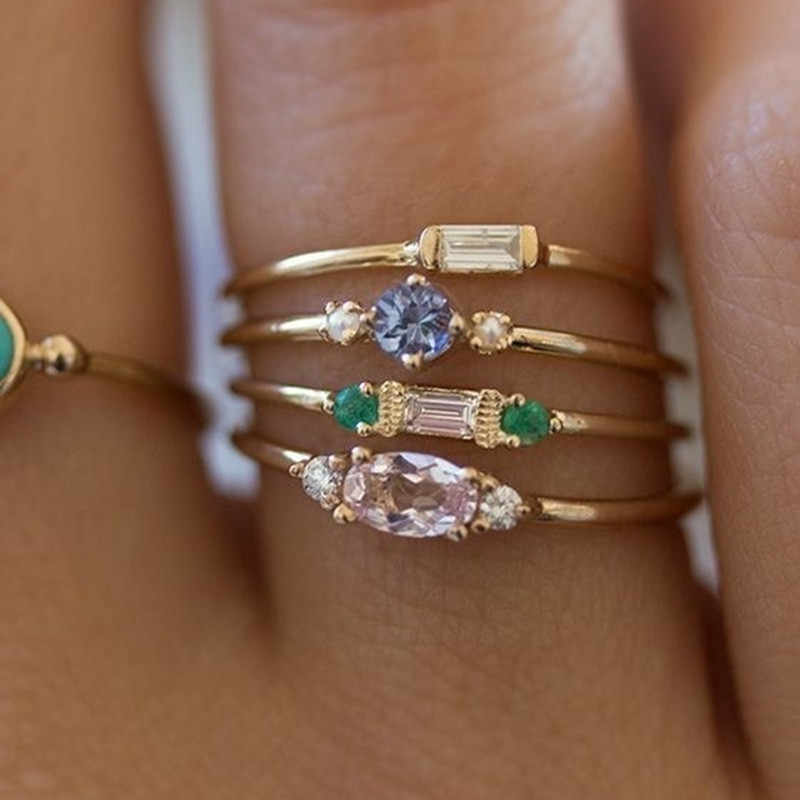 4pcs/set Colorful Zircon Stones Ring For Women Wedding Jewelry Gold Color Plating Simple Boho Rings Engagement Rings