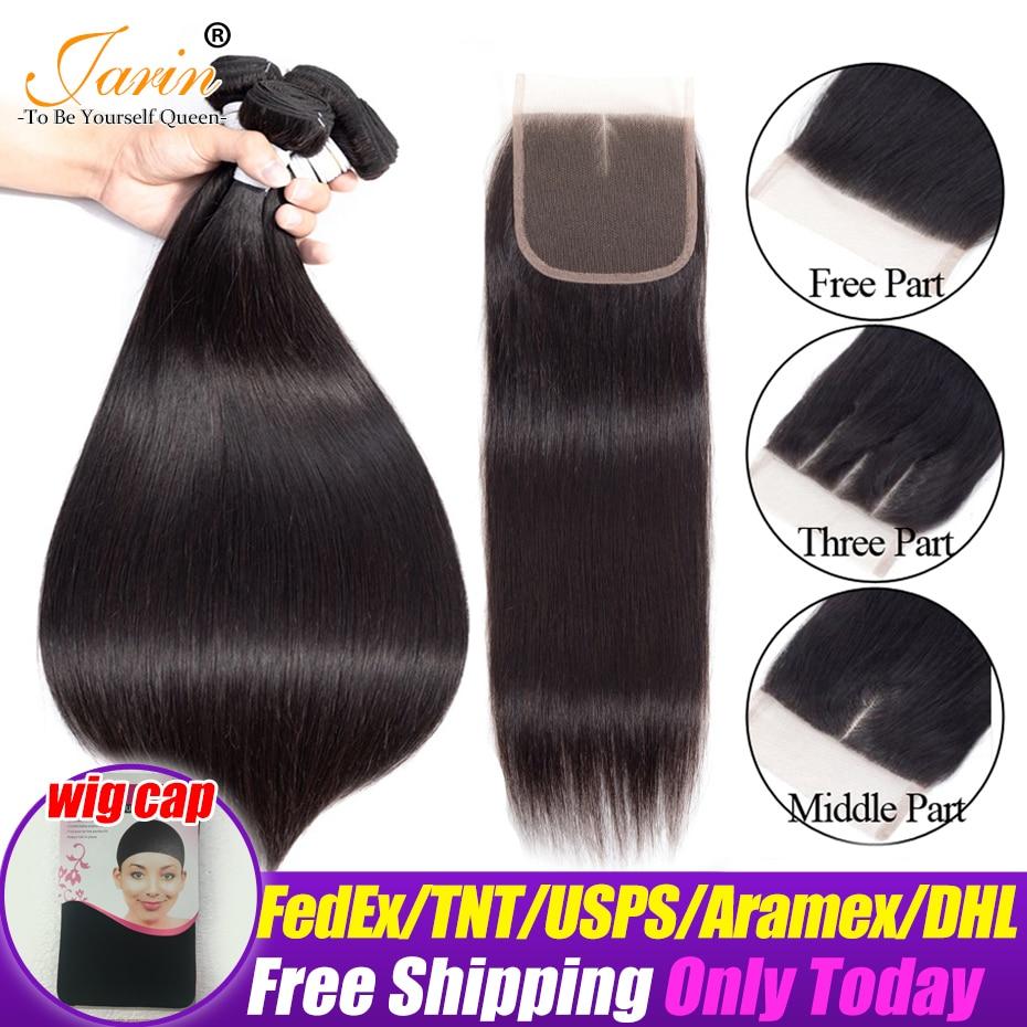 Jarin Peruvian Straight Human Hair 3 Bundles With Closure Natural Color Hair Weave Bundles Deal 4x4