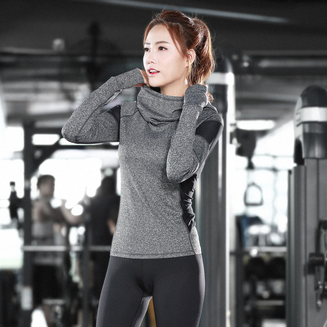 Yoga Shirts Women Long Sleeve Hooded Yoga Tops Sportswear Fitness Quick Dry Breathable Tracksuit Women C03 with Free Shipping