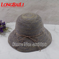 LongBaiLi Summer Casual Women Raffia Straw Sun Beach Hat Female Foldable Wide Brim Bucket Caps Free Shipping SWDS017