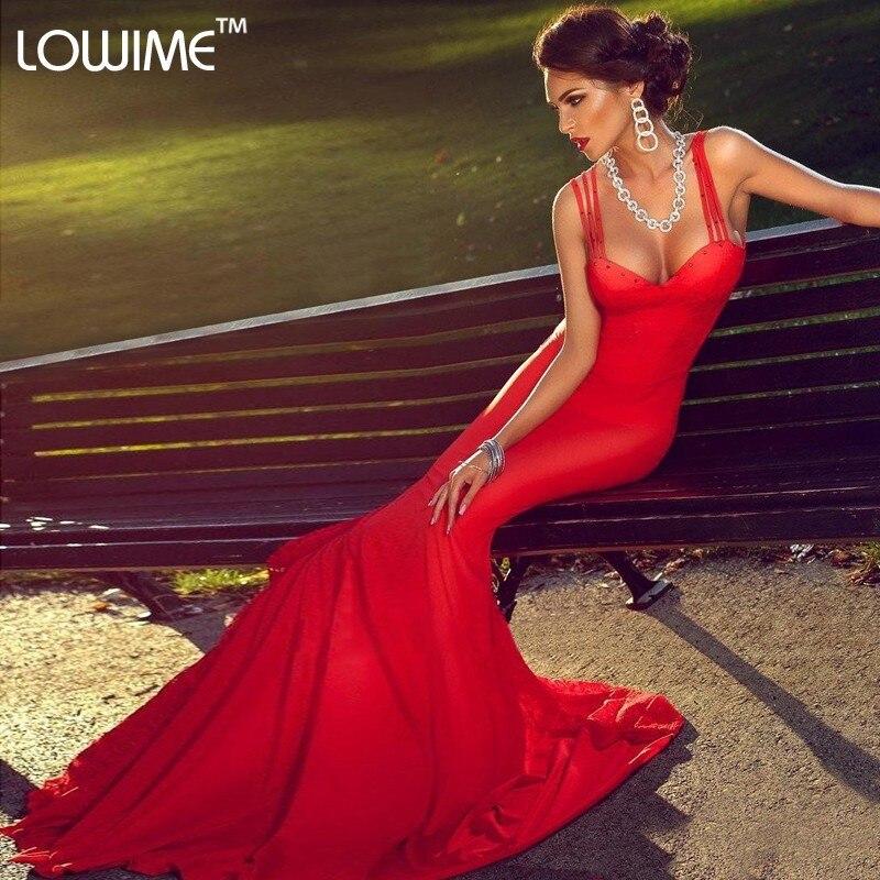 Red Satin Long Evening Dresses