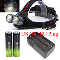 4000LM USB Headlamp Headlight 2x XM-L T6 LED Waterproof Flashlight Head Torch p +2x18650 rechargeable Battery EU/US Charger