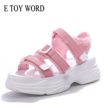E TOY WORD Pink Platform Sandals Summer Women Hook & Loop Fashion Casual Comfortable walking sandals women Beach Shoes